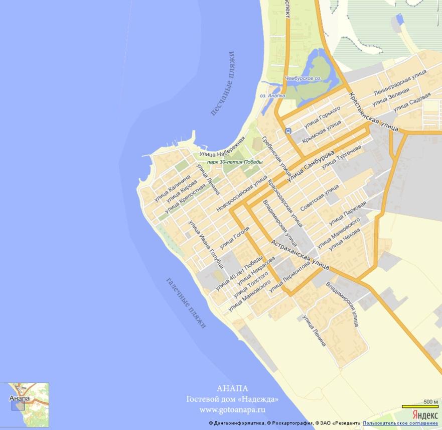 Анапа. Пляжи Анапы. Карта